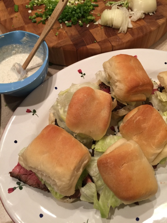 Balsamic Flank Steak Sliders with Creamy Horseradish Sauce on homemade 'Amazing Dinner Rolls'!